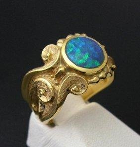Custom Black Opal Ring, 14k Gold