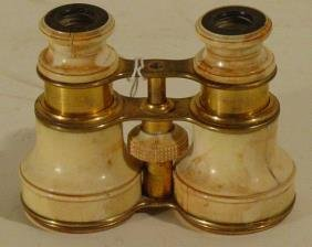 Pair Opera Glasses In Brass And Ivory