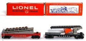 Lionel 6512 Cherry Picker, 6343 Barrel Ramp OB