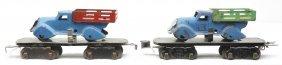 Marx 8-Wheel 2562 Flatcars W/Stake Trucks