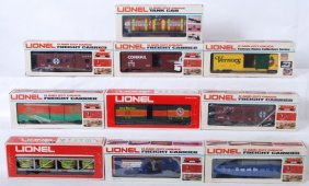 10 Lionel Freight Cars 9400, 9772, 9128, Etc