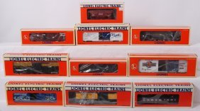10 Lionel Freight Cars 29232, 52053, 16121, Etc