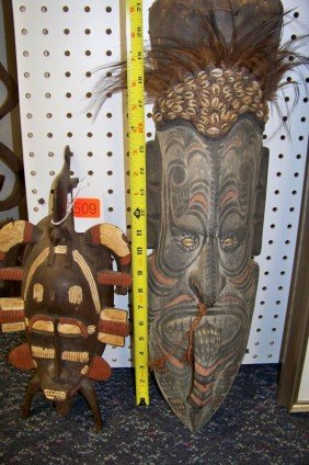 2 ASSORTED TRIBAL WOODEN MASKS