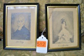 2 SMALL FRAMED PORTRAITS OF ENGLISH LADIES