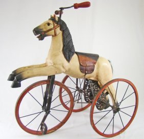 Late 19th C Wooden Horse Form Tricycle