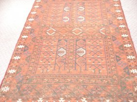 Semi-antique Rug With Rust, Browns, Blues, Greens
