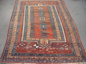 Semi-antique Rug With Rusts, Blues, Tans