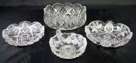 4 Cut Glass Bowls