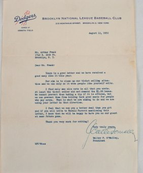 Signed Letter From Walter F. O'Malley