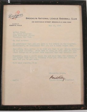 Signed Letter From Branch Rickey, Brooklyn Dodger