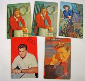 5 Assorted Postcards Signed By Movie Stars