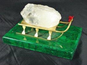 Malachite Base With Large Quartz Crystal On Sleig