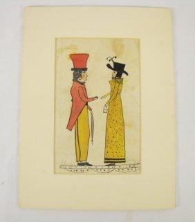 """Early American Folk Art """"Charles And Martha"""""""