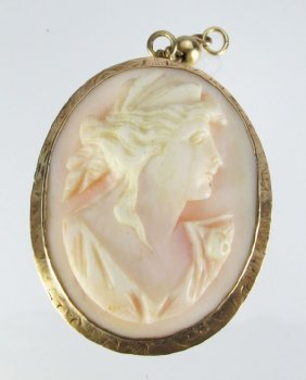 Pink Shell Carved Cameo Brooch/Pendant