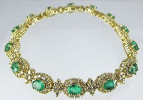 Emerald And Diamond Bracelet 14K