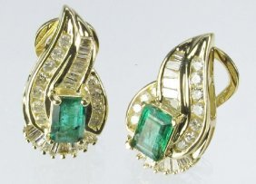 Emerald And Diamond Earrings 14K