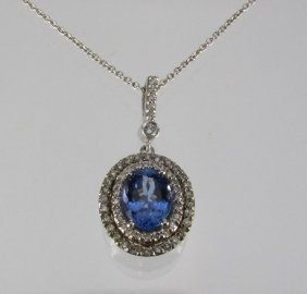 Tanzanite And Diamond Pendant Necklace 14K W Gold