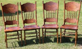 SET OF 4 CONTEMPORARY PRESSED BACK STYLE