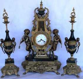 ORNATE MID 20TH C. FRENCH STYLE CLOCK SET,