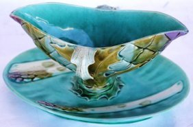 19TH C. FRENCH FAIENCE ASPARAGUS SAUCE BOAT,