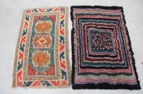 2 RUGS, ONE HOOKED WITH GEOMETRIC