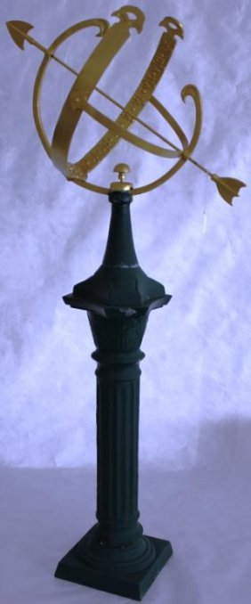 "CAST IRON SUN DIAL ON STAND, 50 1/2"" H"