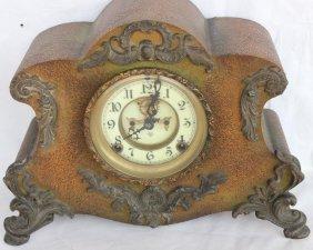 Fancy Iron Mantel Clock By Ansonia