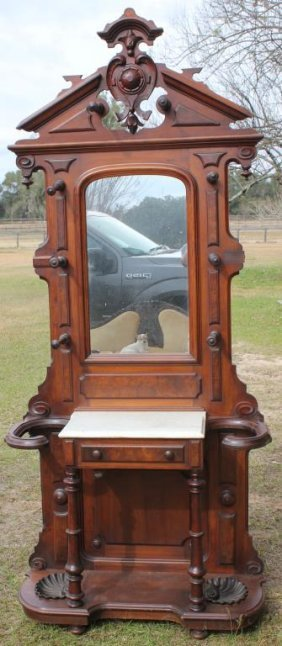Victorian Walnut Marble Top Hall Tree With