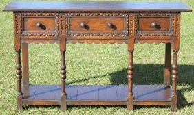 19th C. Oak Server With 3 Drawers,