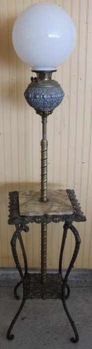 Victorian Iron & Onyx Piano Lamp With