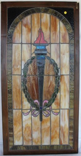 Leaded Glass Window With Torch Design,