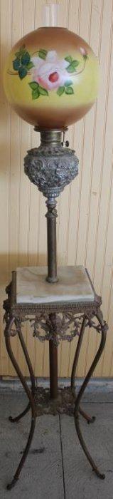 Ornate Victorian Brass, Metal & Onyx Piano Lamp