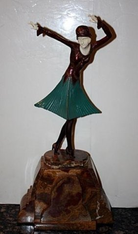 Scarce Signed Chiparus Bronze And Ox Bone - Miro Dancer