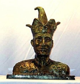 Rare P Picasso Original Bronze - Head Of A Jester