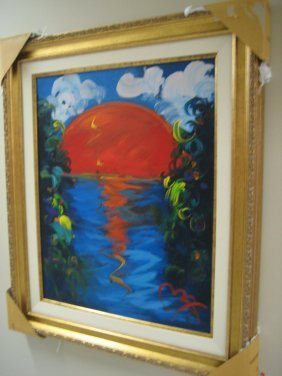 Exquisite Attrib: Peter Max Oil On Canvas Better World