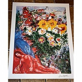 Exquisite Signed M Chagall Lithograph Edit - Les Soucis