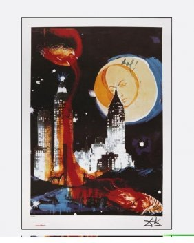 Exquisiste & Rare S Dali Lithograph - Manhattan Skyline