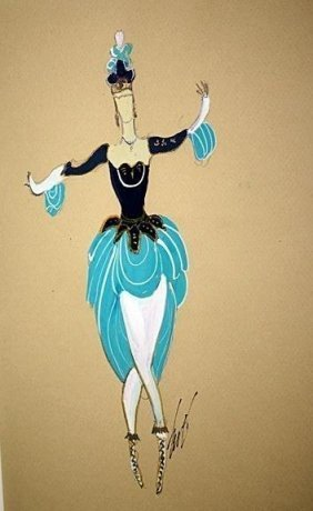 Attributed To Erte Original Gouache- April Dancer