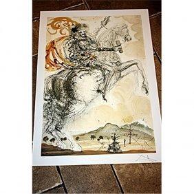Exquisite Signed Dali Lithographe - Don Quixote