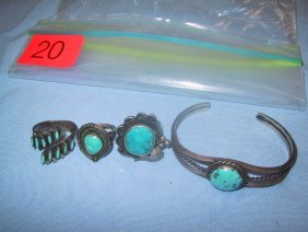 Thre Turquoise And Silver Looking Rings
