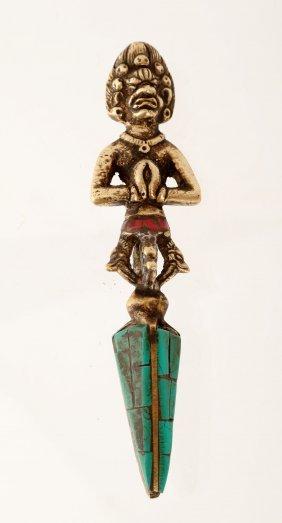 Tibet Buddhist Copper Ritual Apparatus Inlaid
