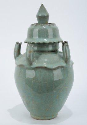 A Guan-type Celadon Five Spouts Vase.c083