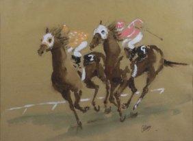 Original Watercolor On Paper, Horse Racing