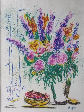 Marc Chagall Serigraph Of Flowers
