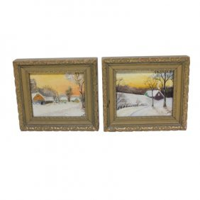 Pair Small Oil Paintings