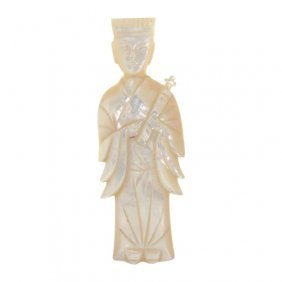 Chinese Figural Mother Of Pearl Snuff Bottle