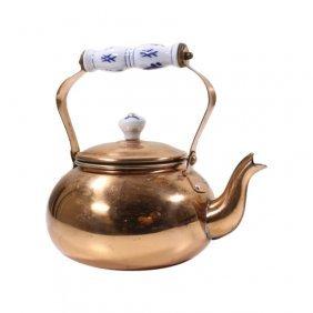 Decorative Copper Teapot With Ceramic Handle