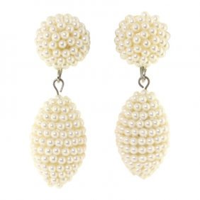 Beaded Faux Pearl Dangle Earrings.
