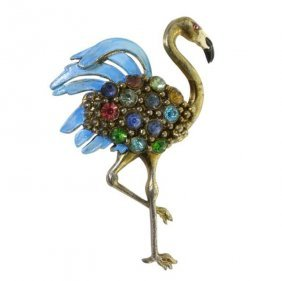 Rhinestone And Painted Flamingo Brooch