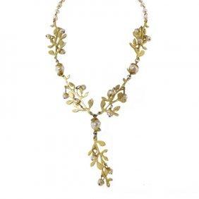 Cecile Jeanne Paris Pearl & Floral Necklace